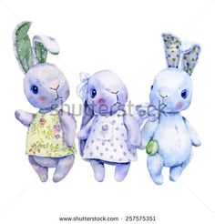 Watercolor illustration of three teddies leverets, pastel colors, shades of blue. - stock photo