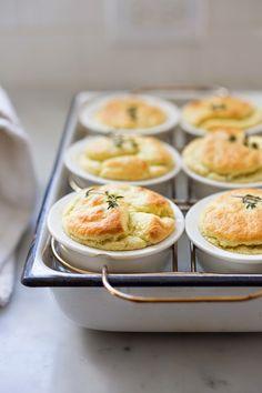 Artichoke Souffle w/ Goat Cheese and Thyme..a scrumptious appetizer. | www.feastingathome.com