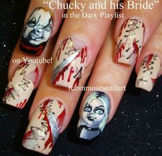 Nail-art by Robin Moses: Scary Movie Nails, Scary Nails, The Bride of Chucky Nails, childs play nails, HALLOWEEN NAILS, halloween nail art, ...