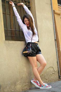 Zara Tee, Moschino Bag, Zara Shorts