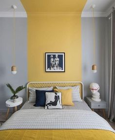 Gray and yellow striped blocked bedroom wall and ceiling. diy bedroom decor Colour Blocking Interiors: Grey and Yellow Colour Blocked Bedroom Home Decor Bedroom, Interior Design Living Room, Modern Bedroom, Bedroom Wall Designs, Bedroom Small, Master Bedroom, Contemporary Bedroom, Decorating A Bedroom, Bedroom Decor Wallpaper