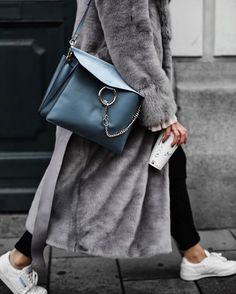 Gray faux fur coat + white sneakers