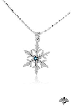 STERLING SILVER SNOWFLAKE PENDANT WITH .04CTW BLUE TOPAZ Snowflake Jewelry, Blue Topaz, Snowflakes, Jewels, Sterling Silver, Diamond, Pendant, Outfits, Clothes