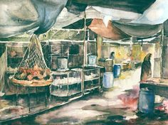 Marketplace. Watercolor. 32in/22in