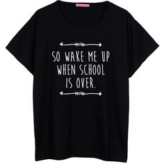 School Is Over Oversized T Shirt Boyfriend Womens Ladies Girl Fun Tee... ($22) ❤ liked on Polyvore featuring tops, t-shirts, shirts, short sleeve shirts, black, women's clothing, black tee, oversized boyfriend shirt, grunge t shirts and loose t shirt