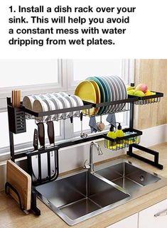 Ideas Diy Kitchen Storage Ideas For Small Spaces Dish Racks Kitchen Rack, Kitchen Storage, Kitchen Decor, Kitchen Design, Kitchen Drying Rack, Storage Area, Diy Kitchen, Kitchen Ideas, Dish Racks