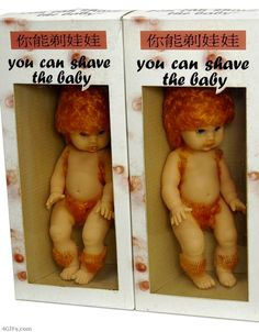 """Creepy """"You can shave the baby"""" doll. That's one hairy baby! ... And why does the baby have THAT MUCH BODY HAIR ???"""