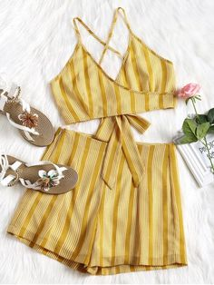 No Fall and Spring and Summer Striped Flat Zipper High Sleeveless Spaghetti Regular Fashion Daily Criss Cross Stripes Top and High Waisted Shorts Set Fashion Models, Girl Fashion, Fashion Outfits, Striped Flats, Summer Stripes, Two Piece Outfit, Mini Shorts, Top Knot, Tulum