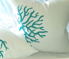 White/Turquoise Coral Design Linen 16 X 16 Pillow cover