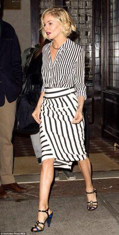 Sienna Miller in monochromatic stripes