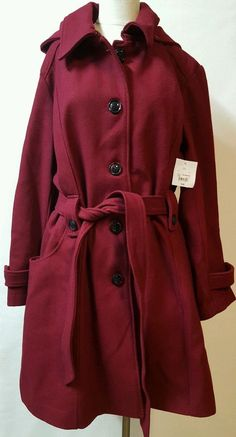 Red Winter Coat Size 3X 3/4 Length Hood Belt Wool BlendCabernet  LIz Claiborne #LizClaiborne #BasicCoat #Business