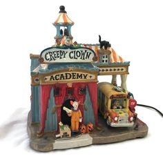 """Spooky Town Creepy Clown Academy by Lemax Halloween """"Where the Joke is on You! Halloween Village, Halloween Items, Halloween Fun, Paper Decorations, Halloween Decorations, Orange Balloons, Creepy Clown, Video Lighting, Ceramic Houses"""