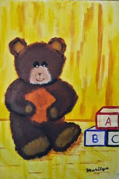 Lynatics: Teddy bear Sponge Painting, Winnie The Pooh, Teddy Bear, Disney Characters, Fictional Characters, Toys, Creative, Canvas, Winnie The Pooh Ears