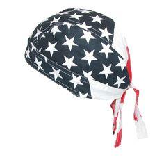 CTM® Men's Cotton American Flag Do Rag Cap