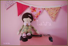 Laura ecofriendly retro doll made from upcycled by bouclenoire