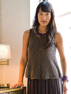 Flow.  An easy tank with fitted top and gracious fullness at the hem.  Not to mention a free pattern from Berroco.