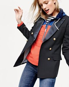 J.Crew women's double-breasted blazer with satin lapel, New Balance® for J.Crew essential windbreaker, toothpick jeans in Ashford wash.