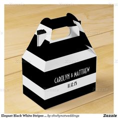 Elegant Black White Stripes Wedding Party Favor Box