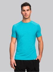 The Everyday Tee in aqua. Crafted from an ultra-soft blend of nylon, polyester and spandex, our tee features a relaxed fit and casual cut that will keep you feeling fresh long after your workout ends. Shop this and other styles at www.coryvines.com