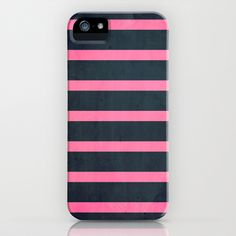 stripes (navy & pink) iPhone & iPod Case by daniellebourland - $35.00