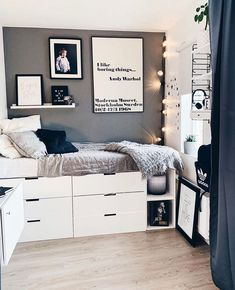 Ikea Small Bedroom, Bedroom Decor For Teen Girls, Space Saving Furniture, Dream Rooms, New Room, Bedroom Wall, Girl Room, Home Interior Design, Room Inspiration