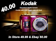 We have a kodak Digital Camera with a 4GB SD Card for 40.00. Ebay has it for 60.00 & it's 49.99 in our store. Please give us a call for more info or for payment & shipping options