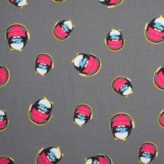Kinderstoffe Baumwoll - Pinguin Mit Kopfhörern Grau