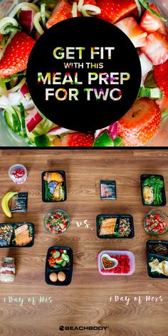 Meal prep goes faster – and we think it's more fun – when two people share the work in the kitchen, even at different calorie levels. Try this meal-prep with someone on the same fitness journey as you! // meal prep // meal prepping // meal planning // healthy eating // clean eating // fitness // Beachbody // BeachbodyBlog.com