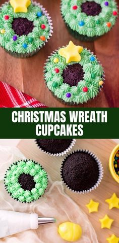 Christmas Wreath Cupcakes are a sweet treat everyone will love this merry season., Holiday Tips, Christmas Wreath Cupcakes are a sweet treat everyone will love this merry season. They& a festive addition to any holiday party and make a great. Christmas Snacks, Xmas Food, Christmas Cooking, Christmas Goodies, Christmas Fun, Christmas Wreaths, Christmas Parties, Christmas Cakes, Advent Wreaths