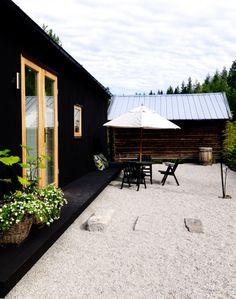 black house, wood doors