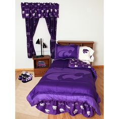 College Covers, Kansas State Wildcats Reversible Comforter Set. College Covers brand Comforter Set includes reversible comforter, and sham (s). All items are 100% cotton sateen 200 thread count for a softer feel than any other collegiate bedding available. Comforter has the University logo printed large on front with an all over logo pattern printed on the back giving you a truly reversible comforter with two unique looks. Twin size sets come with one sham, full and queen size with two…