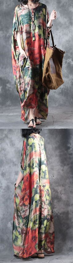 baggy multi vintage silk dresses plus size casual sundress batwing sleeve maxi dress