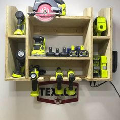 I am from Brazil and started a new hobby. I finished my workshop after vacation in San Diego, where I bought my tools. Thank you Ryobi for the inspiration. I tried to build the same RyobiNation site project for miter saw and a charging station of my idea. Garage Organization Tips, Garage Tool Storage, Workshop Storage, Garage Tools, Diy Storage, Organizing, Garage Tool Organization, Lumber Storage, Diy Workshop