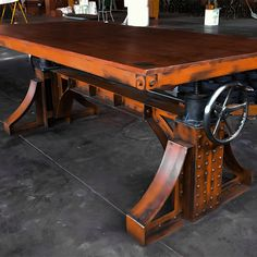 my dream table Vintage Industrial Bronx Crank Table Industrial Design Furniture, Vintage Industrial Furniture, Industrial House, Industrial Interiors, Metal Furniture, Industrial Chic, Unique Furniture, Rustic Furniture, Home Furniture