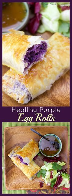 These purple cabbages Egg rolls flavored with pork, ginger and garlic are enveloped in a light crunchy phyllo. They are also baked instead of fried for a healthier version.  Accompanied with a plum sauce, these egg rolls are a kid's favorite.#eggrolls #phyllo #appetizer #purplefood