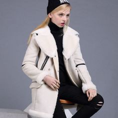 High-Quality Faux Fur Lined Suede Fashionable Large Collar Medium Length Winter Coat S-XL