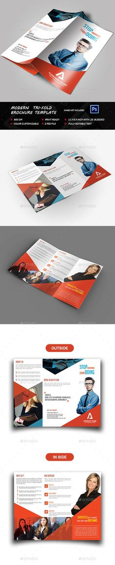 Modern Tri-fold Brochure Template PSD #design Download: http://graphicriver.net/item/modern-trifold-brochure/13488136?ref=ksioks