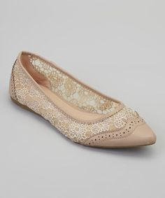 This Gemini Taupe Lace Eva Flat by Gemini is perfect! #zulilyfinds