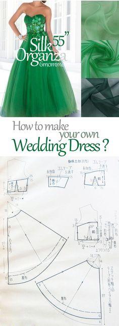 how to sew your own wedding dress? DIY wedding dress pattern. Free wedding dress pattern.: