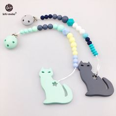 Lets Make Baby Teether 20pc Monkey Diy Teething Necklace Bpa Free Baby Play Gym Accessories Charms Food Grade Silicone Teether Terrific Value Dental Care Mother & Kids