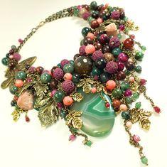 Купить Вечер Изумрудной Бухты. Колье из натуральных камней - комбинированный, розовый, коралловый, фуксия, фиолетовый