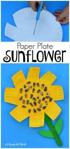 Kids work on scissor skills while making this paper plate sunflower craft. fall preschool kindergarten summer kid craft fine motor skills