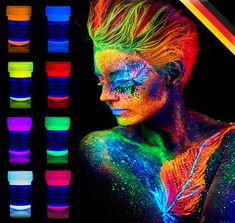 Amazon.com: 8 x UV Body Paint Black Light Make-Up Bodypainting Neon Blacklight Bodypaint Face Paints   @giftryapp