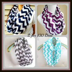 2 Chevron Scarves for $30 deal. Choose from many different color options available at checkout.
