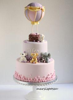 Kuumailmapallokakku ristiäisiin Hot Air Balloon Cake, Baby Birthday Cakes, Balloons, Baking, Globes, Bakken, Balloon, Backen, Sweets