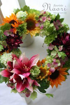 Silk Flower lease of dahlia and sunflower