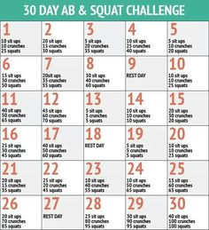 30 day ab & squat challenge ~  Maybe I will do this one instead with the plank challenge.....