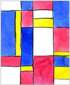 Mondrian became a master of geometric shapes in abstract art. There are many ways to imitate his style of painting, but I like this one best as the crayon naturally creates a wall between the watercolors. 1. With a ruler lightly draw about four parallel horizontal lines across a piece of watercolor paper. Draw about four vertical … Read More