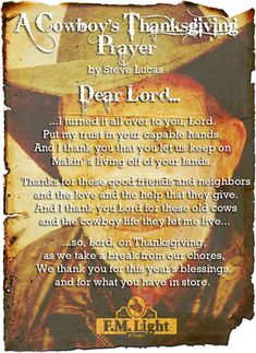 A Cowboy's Thanksgiving Prayer by Steve Lucas - Poster by F.M. Light and Sons, Western Wear in Steamboat Springs, CO