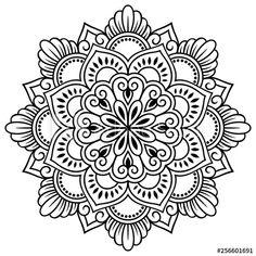 Mandala Art Lesson, Mandala Artwork, Mandala Drawing, Stencils Mandala, Tattoo Stencils, Simple Mandala Tattoo, Mandala Tattoo Design, Mehndi Flower, Flower Mandala